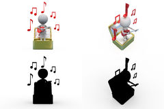 3d man music file concept collections with alpha and shadow channel Royalty Free Stock Images