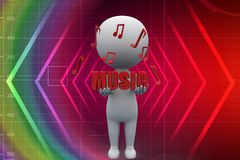 3d man music illustration Stock Images