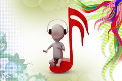 3d man music note  illustration Royalty Free Stock Images