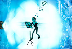 3d man with music notes and script illustration Royalty Free Stock Photography