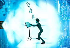 3d man with music notes and script illustration Stock Image