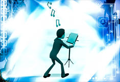 3d man with music notes and script illustration Stock Photo