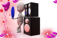 3d man music speaker illustration Royalty Free Stock Photography