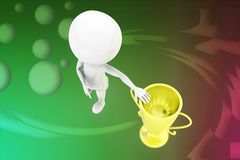 3d man near golden cup illustration Stock Photography