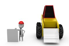 3d man near loader truck concept Royalty Free Stock Photography