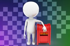 3d man near post box illustration Stock Photography