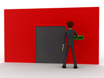3d man near red wall pressing closed text button and closed door concept Stock Photo
