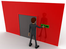 3d man near red wall pressing closed text button and closed door concept Stock Image
