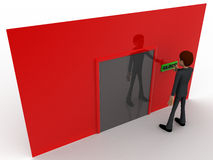 3d man near red wall pressing closed text button and closed door concept Royalty Free Stock Images