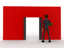 3d man near red wall pressing closed text button and opened door concept Stock Photography