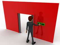 3d man near red wall pressing closed text button and opened door concept Royalty Free Stock Photos
