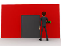 3d man near red wall pressing exit text button and closed door concept Royalty Free Stock Image