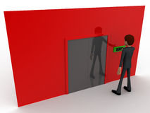 3d man near red wall pressing exit text button and closed door concept Stock Photos