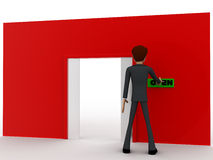 3d man near red wall pressing open text button and closed door concept Royalty Free Stock Images