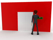 3d man near red wall pressing open text button and closed door concept Royalty Free Stock Photography