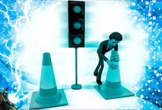 3d man near traffic signal lifting traffic cones illustration Stock Photography
