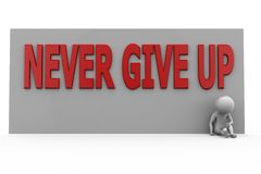 3d man never give up concept Royalty Free Stock Photography
