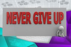 3d man never give up illustration Stock Photo