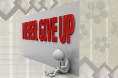 3d man never give up illustration Royalty Free Stock Image