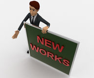 3d man with new works sing board concept Royalty Free Stock Photo