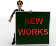 3d man with new works sing board concept Stock Photography