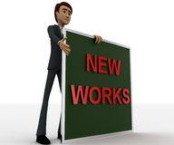 3d man with new works sing board concept Royalty Free Stock Image