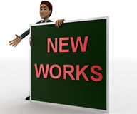 3d man with new works sing board concept Stock Photo