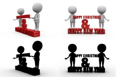 3d man new year and christmas concept collections with alpha and shadow channel Stock Images