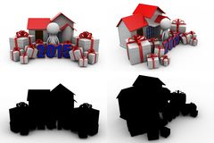 3d man new year gift concept collections with alpha and shadow channel Royalty Free Stock Photography