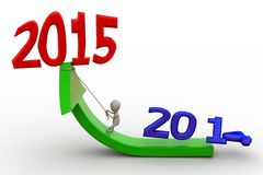 3d man new year growth concept Royalty Free Stock Photo