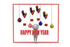 3d man new year party concept Stock Photos
