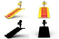 3d man new year stairs concept collections with alpha and shadow channel Royalty Free Stock Photo