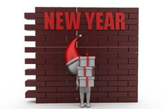 3d man new year wall concept Royalty Free Stock Photos