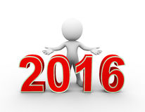 3d man new year 2016 welcome Stock Photos