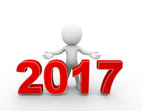 3d man new year 2017 welcome Royalty Free Stock Photos