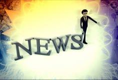 3d man with NEWS alphabet illustration Royalty Free Stock Photo