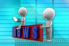 3d man news illustration Royalty Free Stock Image
