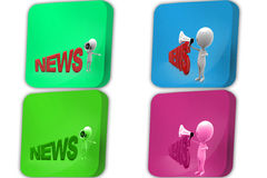 3d Man news speaker concept icon Royalty Free Stock Images