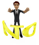 3d man with NO alphabet concept Stock Photography