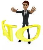 3d man with NO alphabet concept Royalty Free Stock Photos
