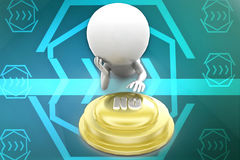 3d man  with no button illustration Stock Photography