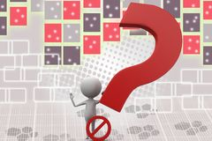 3d man no question illustration Royalty Free Stock Photo