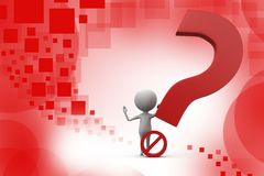 3d man no question illustration Royalty Free Stock Image