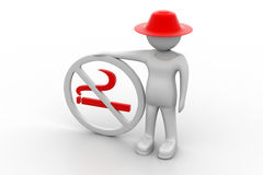 3d man with no smoking symbol Royalty Free Stock Photo