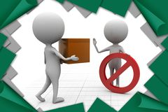 3d man not allowed illustration Royalty Free Stock Image
