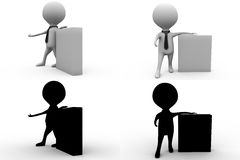 3d man notice board concept collections with alpha and shadow channel Royalty Free Stock Images
