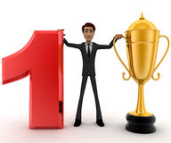 3d man with number 1 and golden cup of winner concept Royalty Free Stock Photography
