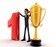 3d man with number 1 and golden cup of winner concept Stock Photography