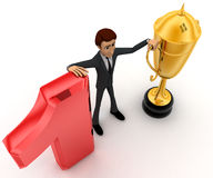 3d man with number 1 and golden cup of winner concept Royalty Free Stock Images