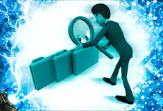 3d man observing folders with magnifying glass illustration Stock Photo